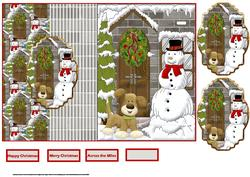 Snowman and Dog Fold Back Card with Toppers