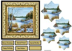 Frozen River 6x6 Card with Pyramid and Sentiment Tags