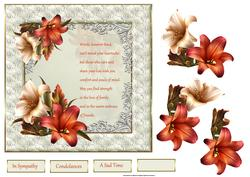 Lily Condolance 7x7 Card with Decoupage and Verse