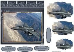 Fighter Plane Card with Pyramid Layers