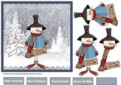 Snowmen Melt My Heart 7x7 Card with Decoupage
