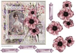 Beauty and Vintage Flowers 7x7 Card with Decoupage