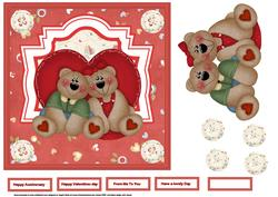 Bearly Perfect Couple 7x7 Card with Topper