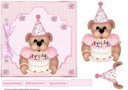 Birthday Bear 7x7 Card and Decoupage