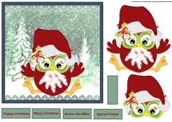 Christmas Owl 7x7 Card with Decoupage