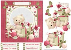 Kitten Has a Christmas Gift7x7 Card with Decoupage