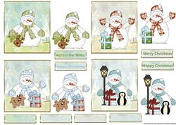 Snowman Collection of Small Card Fronts with Toppers