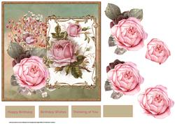 Vintage Pink Rose 7x7 Card and Decoupage
