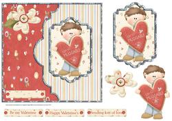 Sending Heart Full of Love 7x7 Card with Decoupage