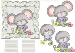 Mouse Love 6x6 Card with Decoupage