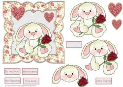 Rabbit with a Red Rose 6x6 Card with Decoupage