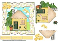New Home 7x7 Card with Decoupage and Sentiment Tags