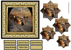 Dog Fight Aircraft 6x6 Card and Pyramid Layers