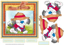 Dog in Fancy Dress 7x7 Card with Decoupage
