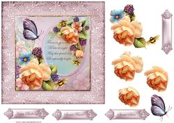 Peach Rose with Verse 7x7 Card and Decoupage