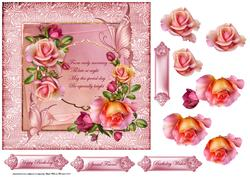 Rose Romantic with Verse 7x7 Card