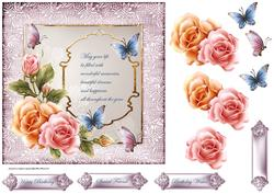 English Rose and Butterfly 7x7 Card with Decoupage