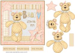 Bear Birthday 7x7 Card with Decoupage