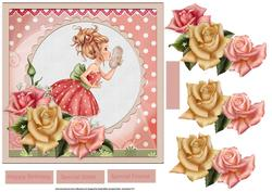 Pretty Girl 7x7 Card with Rose Decoupage