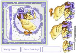 Easter Chick 7x7 Card with Decoupage
