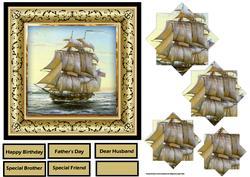 Sailing Ship 6x6 Card with Pyramid Layers