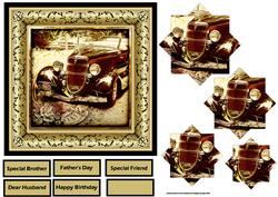 Vintage Car 6x6 Card with Pyramid Layers