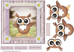 Owl Hoot of a Birthday 7x7 Card with Decoupage