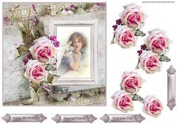 Pink Rose and Vintage Beauty 7x7 Card with Decoupage