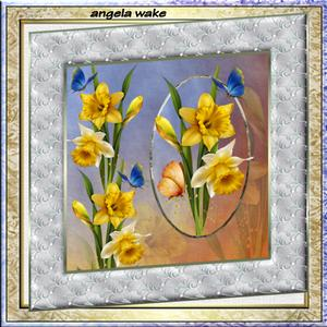 Golden Daffodils 8x8 Card with Decoupage