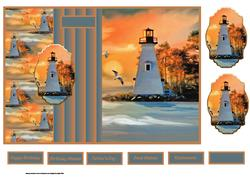Lighthouse at Sunset Fold Back with Toppers