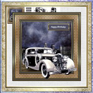 Vintage Car at Night 7.5x7.5 Card with Decoupage