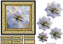 Raf Biplane 6x6 Card with Pyramage