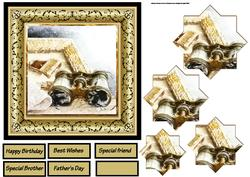 Vintage Binoculers 6x6 Card with Pyramid