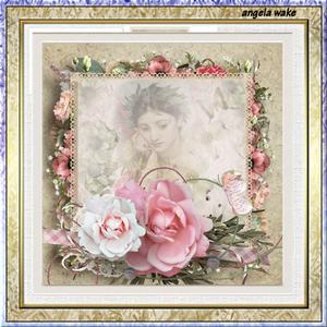 Memory Rose 7.5 X7.5 Card with Decoupage