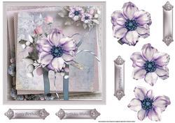 Purple Flower 7x7 Card with Decoupage