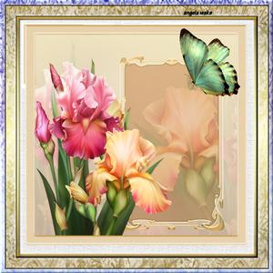 Pink Iris 7.5 X7.5 Card with Decoupage