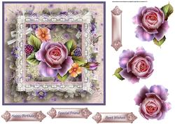 Pink Rose 7x7 Card with Decoupage