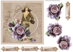 Elegance with a Rose 7x7 Card with Decoupage