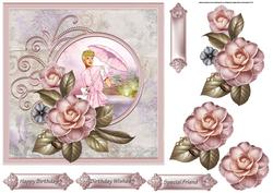 Camelia and a Lady 7x7 Card with Decoupage