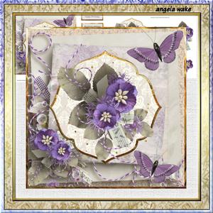 Purple Flowers and Butterfly 7x7 Card with Decoupage