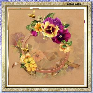 Pansy for Mother 7.5x7.5 Card and Decoupage