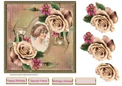 A Vintage Rose 7x7 Card with Decoupage and Sentiment Tags