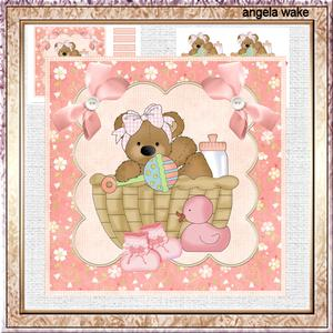 Teddy Bear Shower 7x5x7.5 Card with Decoupage and Sentiment