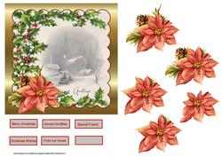 Holly and Poinsettias 6x6 Card with Decoupage