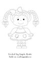 Little Girl Braids Digital Stamp