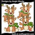 Reindeer Fun Clipart Green