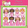 Breast Cancer Girls Clipart & Digital Stamps 2