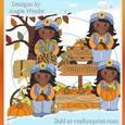 Fall Farm Girls African Clipart