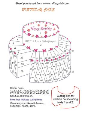 Birthday Cake Iris Folding Pattern