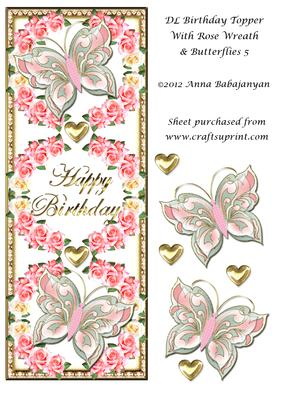 Dl Birthday Topper with Rose Wreath & Butterflies 5